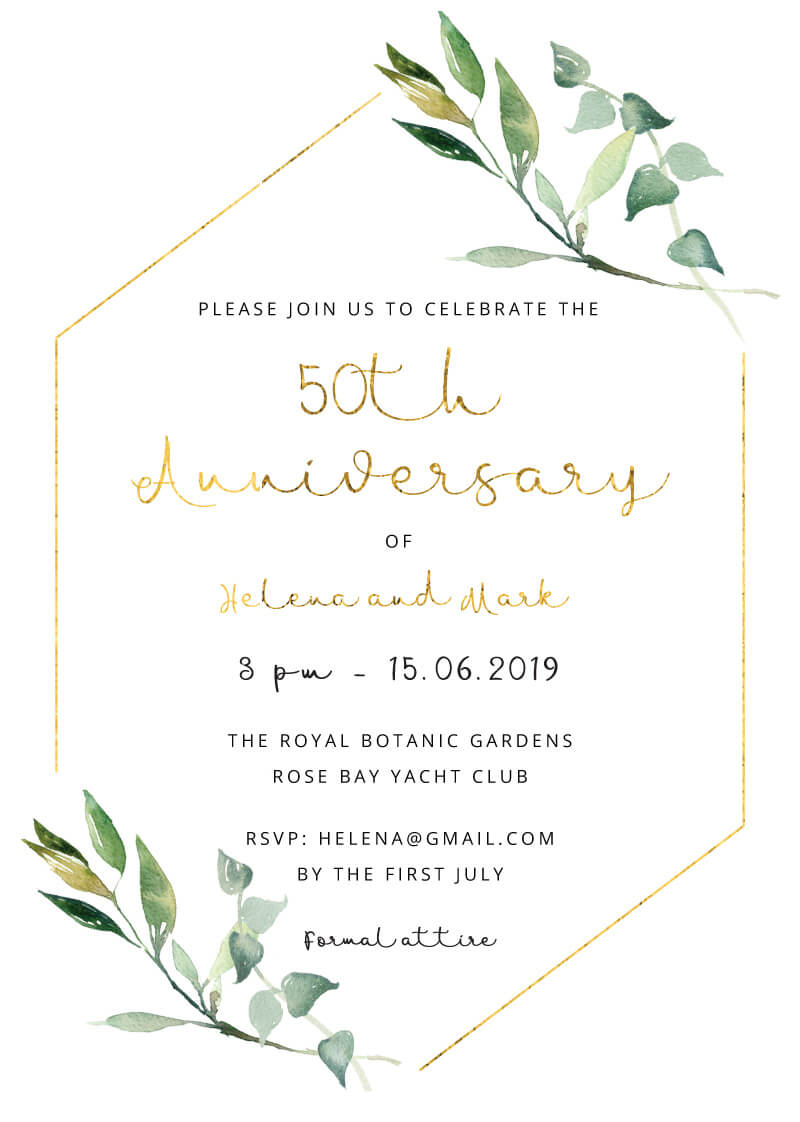 Garden Window - Wedding Anniversary Invitations