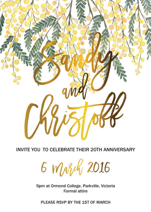 Golden Native - Wedding Anniversary Invitations