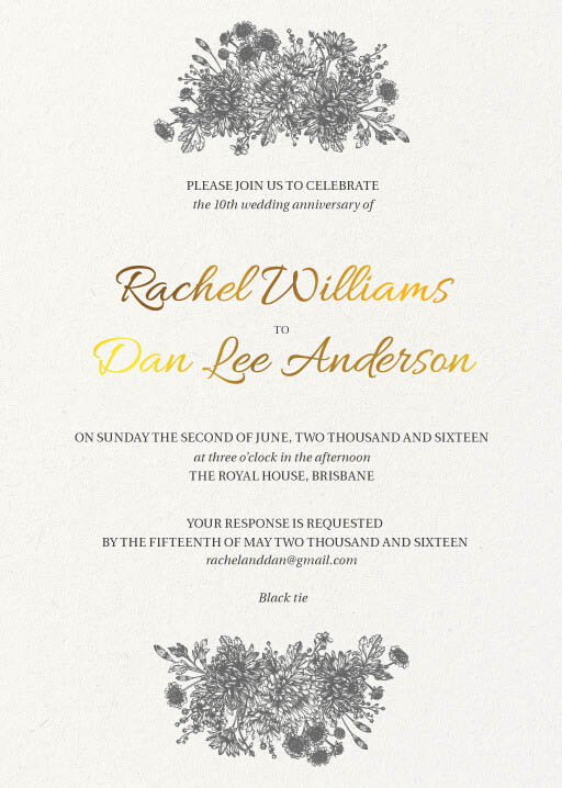 Bluemchen - Wedding Anniversary Invitations