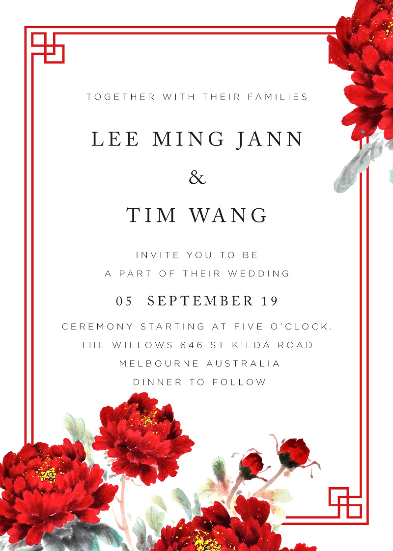 Red Peony - Wedding Invitations