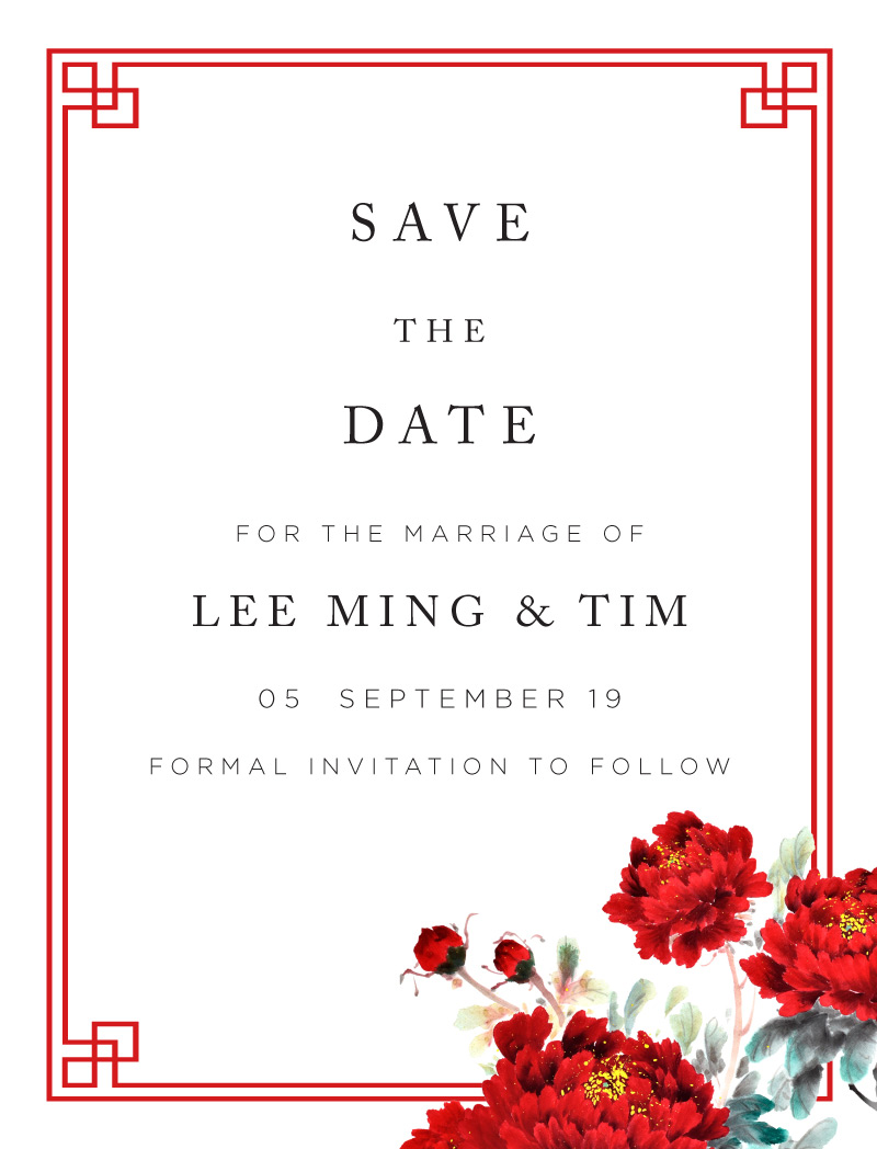 Red Peony - Save The Date