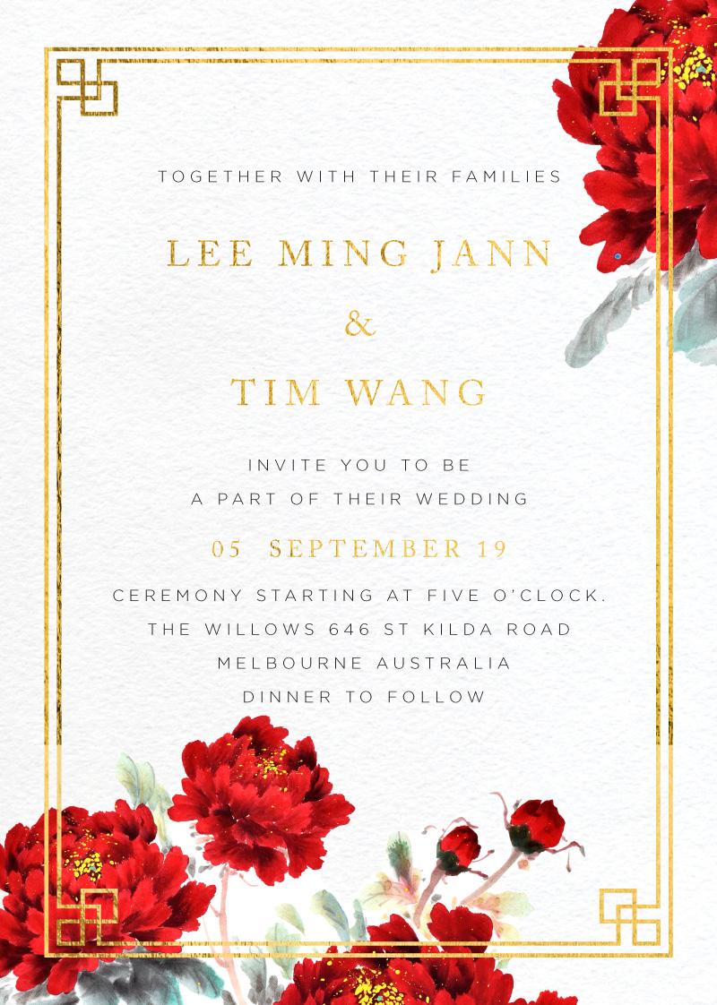 Red Peony - Wedding Invitations