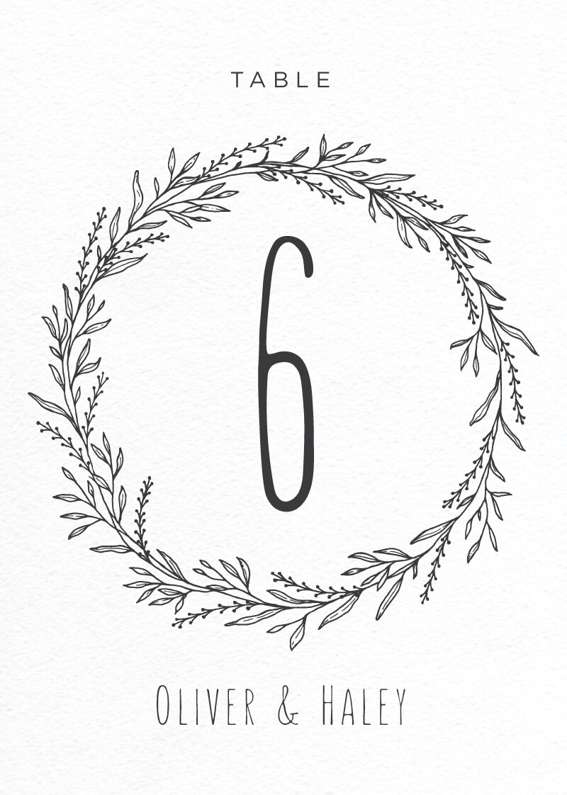 Blank Space - Table Numbers