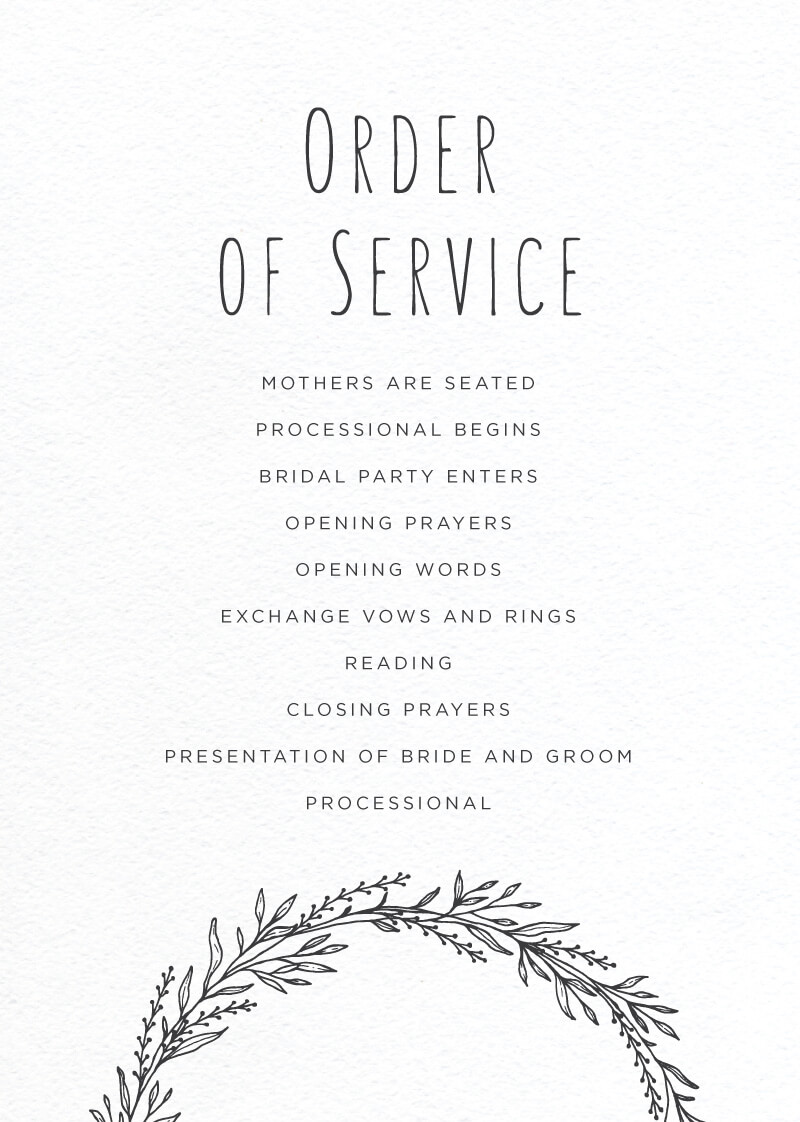 Blank Space - Order Of Service