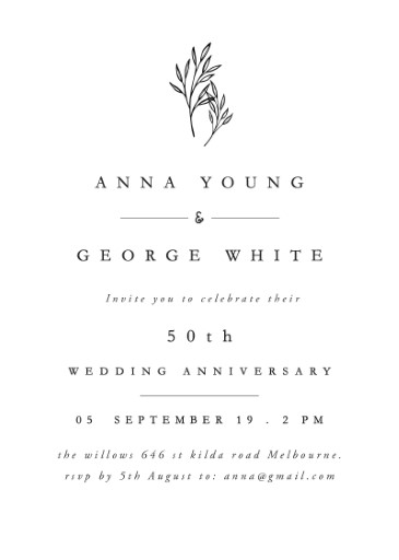 Luna - Wedding Anniversary Invitations