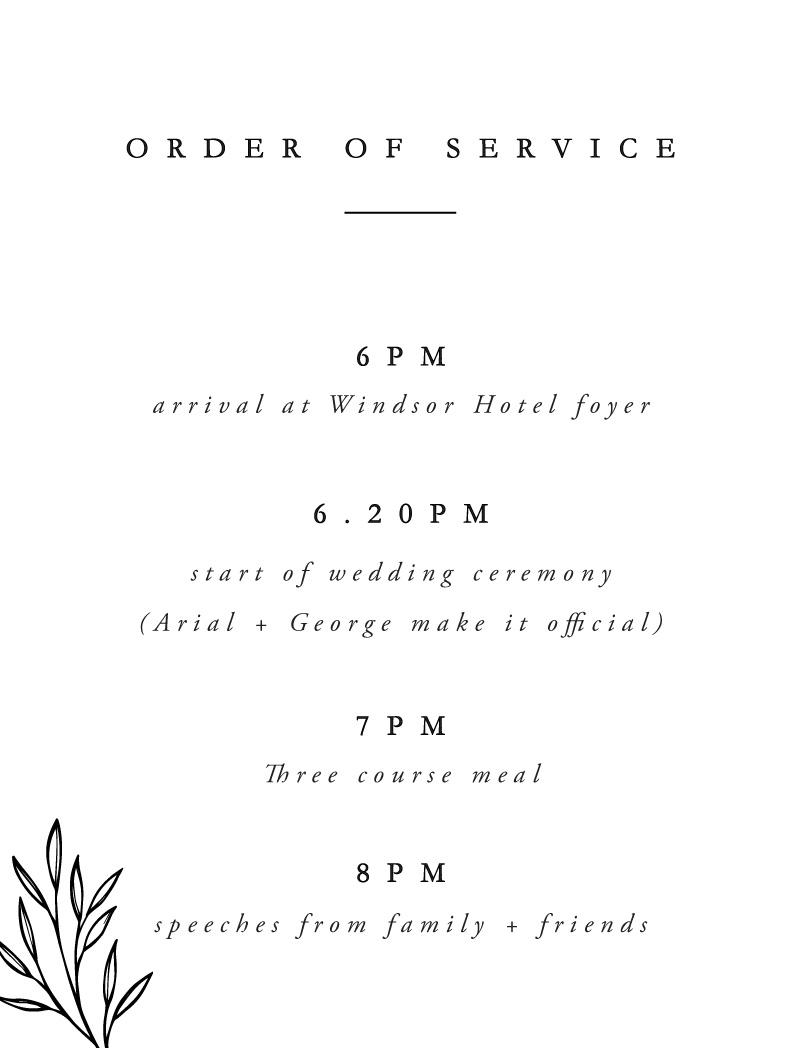Luna - Order Of Service