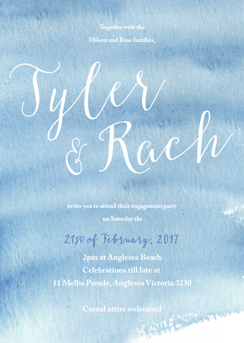 Beach - engagement invitations