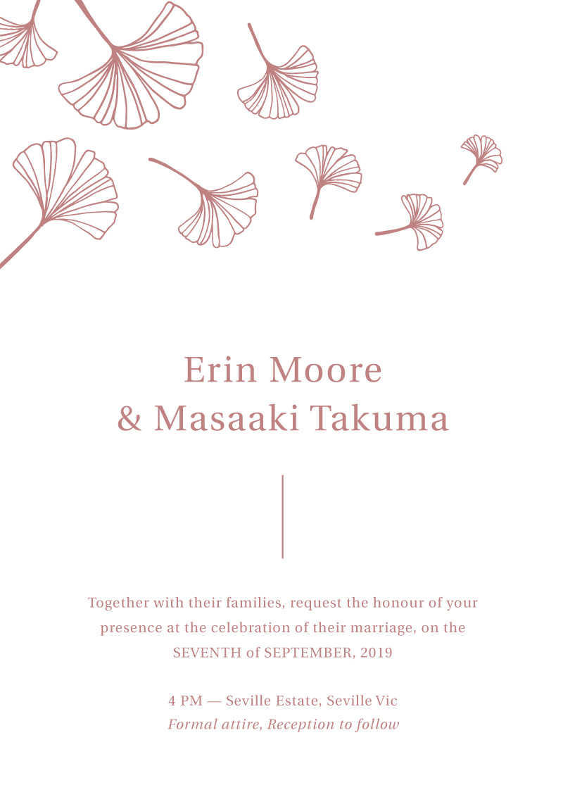 Dancing Ginkgo - Wedding Invitations