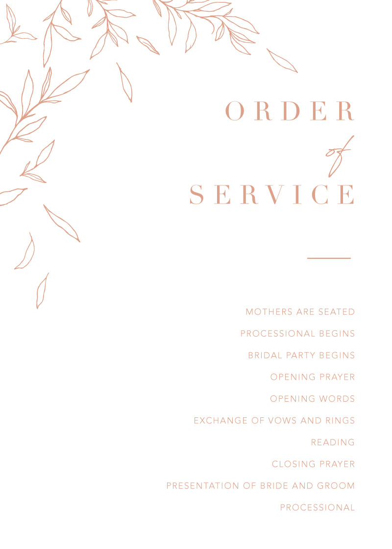 Modern Simplicity - Order Of Service
