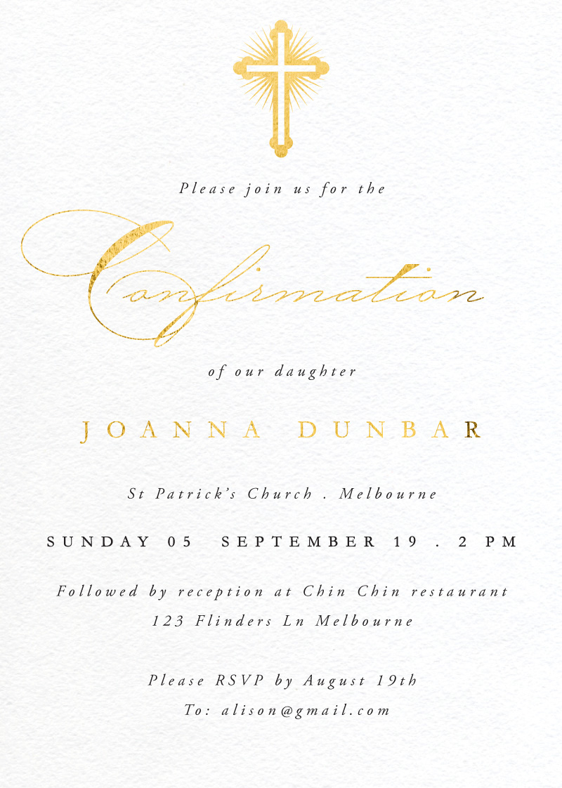 Gold Testament - Confirmation Invitations