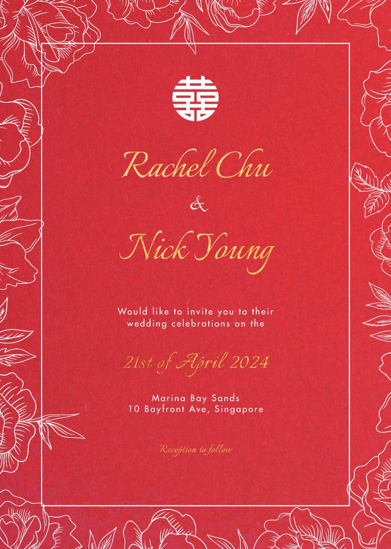 White Ink Camellia - Wedding Invitations