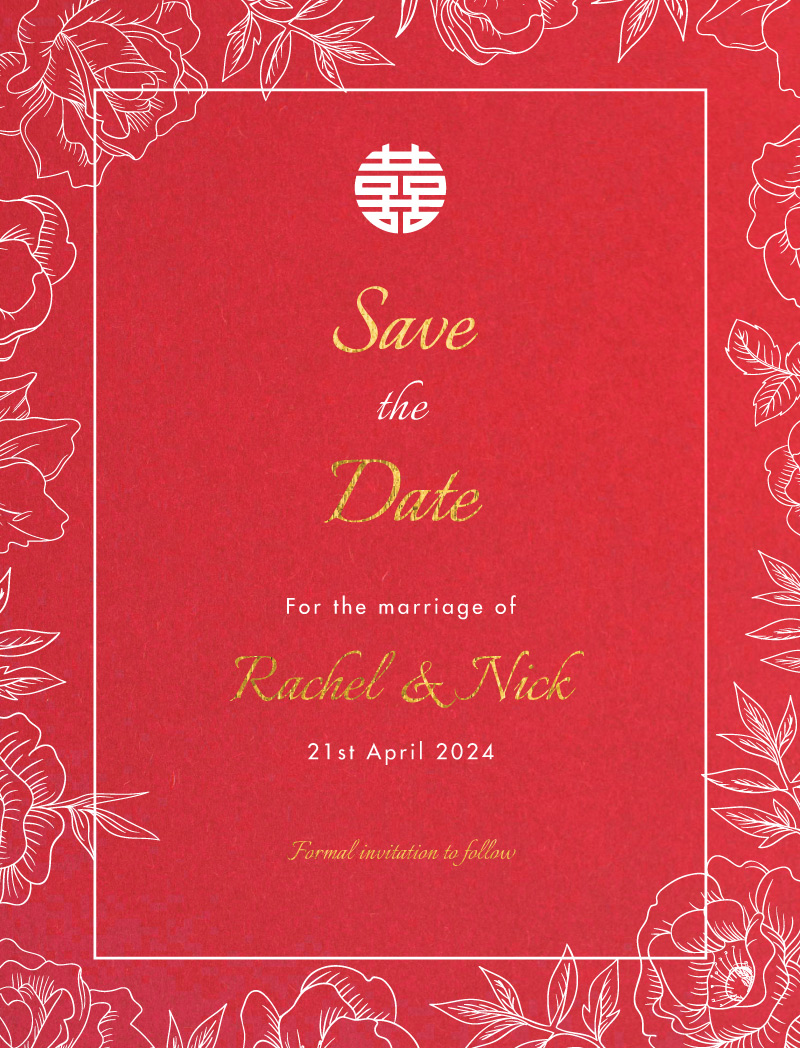 White Ink Camellia - Save The Date