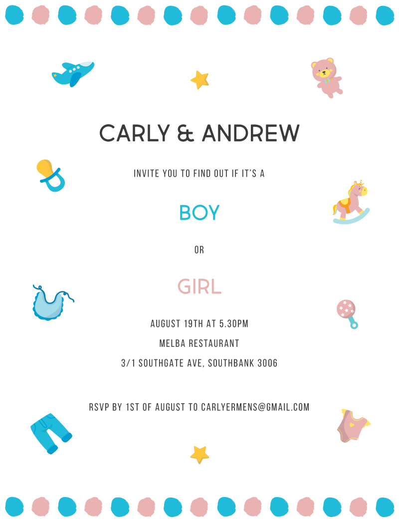 Blue or Pink - Baby Shower Invitations