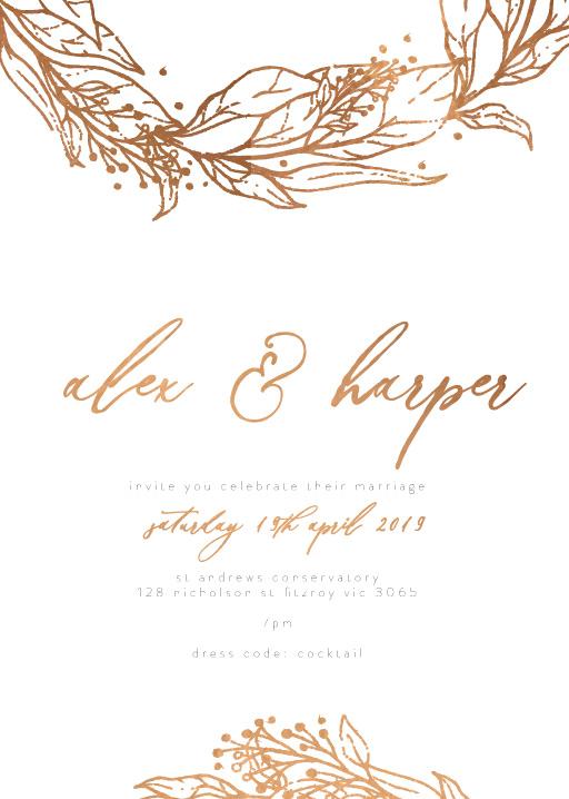 Copper Leaves Wedding Invitations - wedding invitations