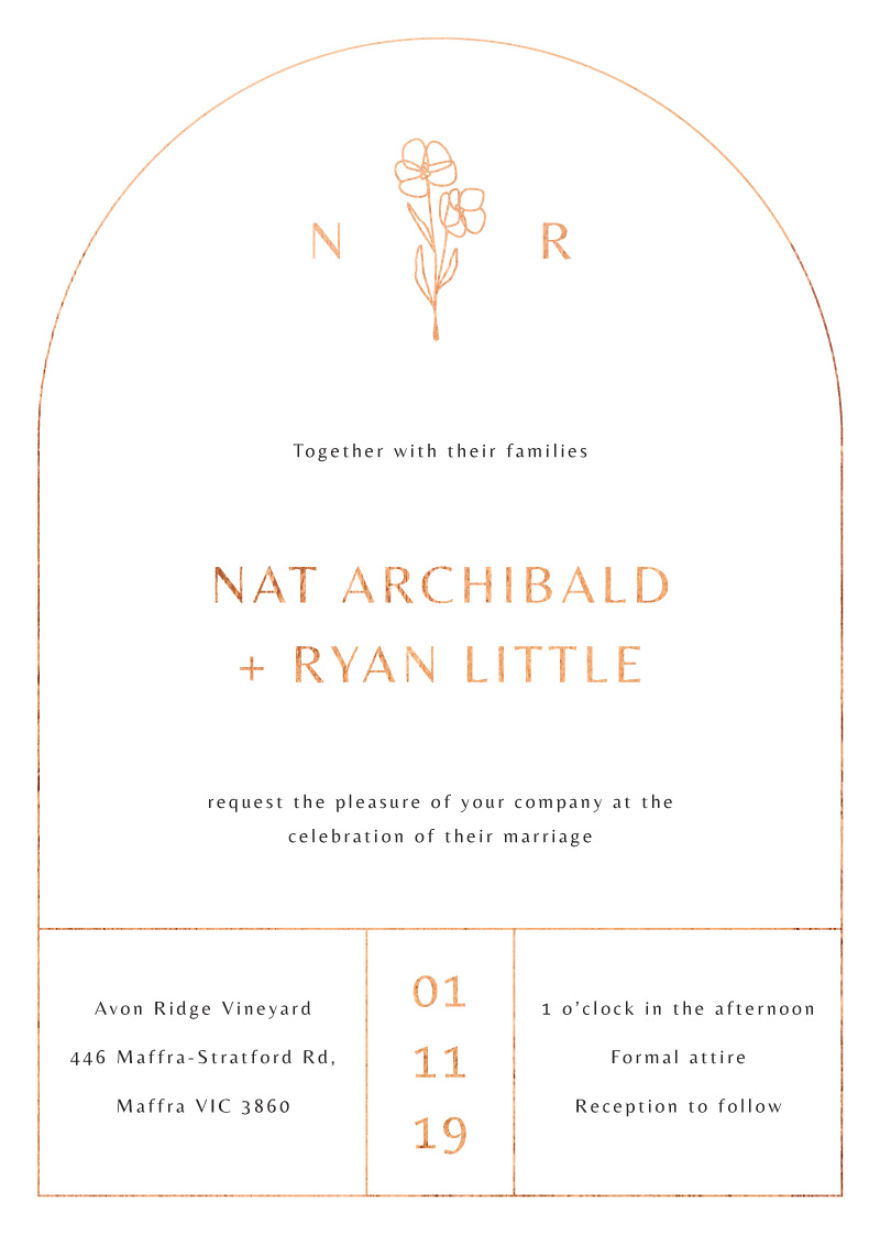 Rose Foil Arch - Wedding Invitations