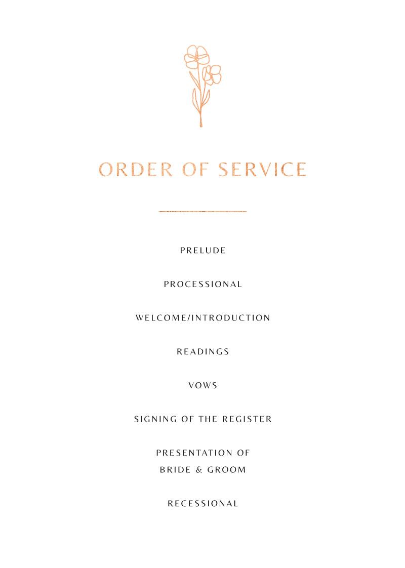 Rose Foil Arch - Wedding Programs