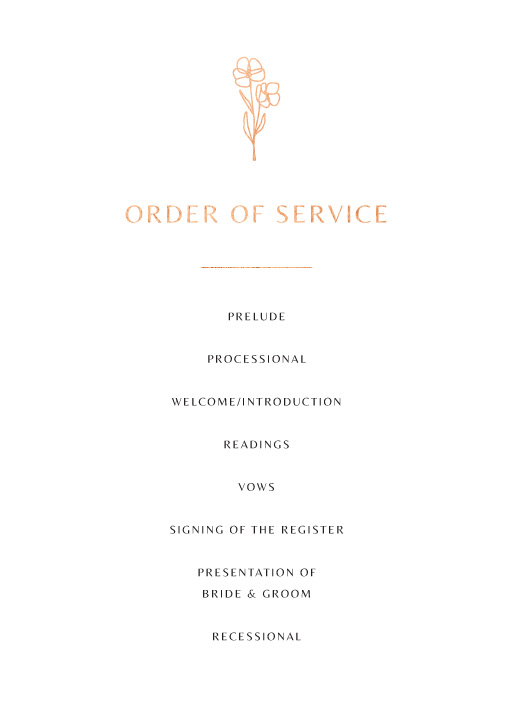 Rose Foil Arch - Order of Service