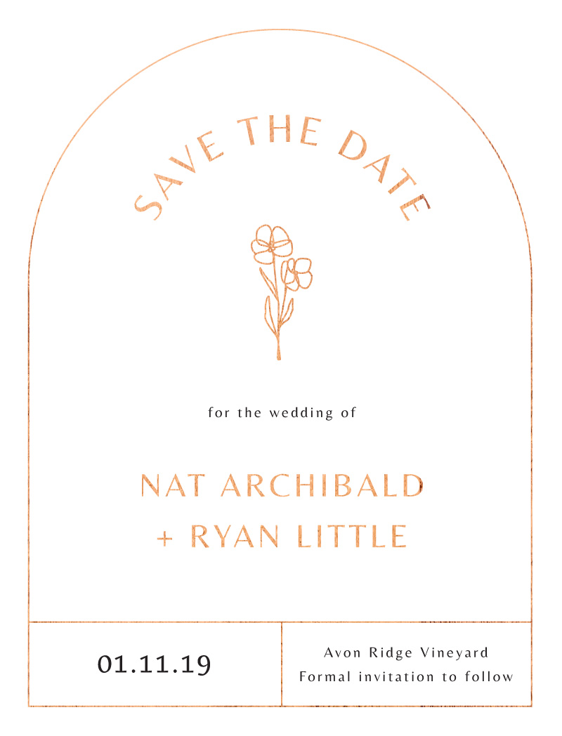 Rose Foil Arch - Save The Date