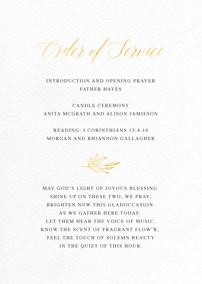 Athena's Crown - Wedding Programs