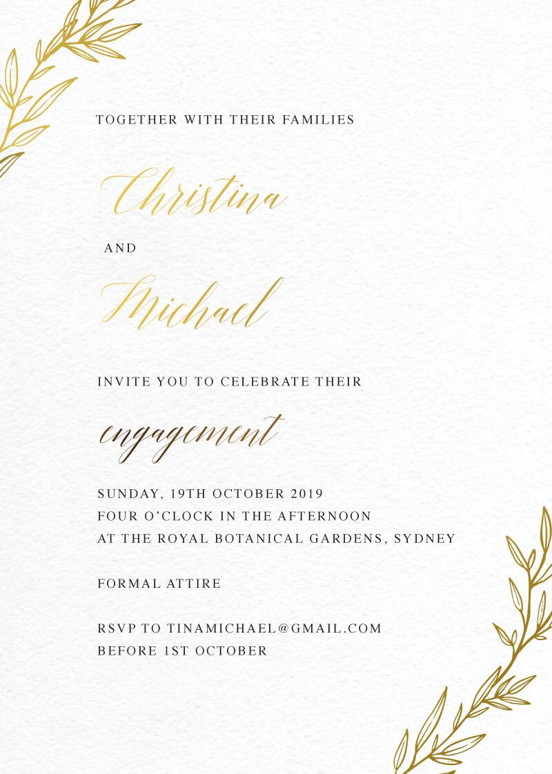 Athena's Crown - Engagement Invitations