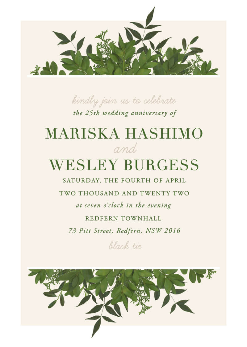 Mod Botanical - Wedding Anniversary Invitations