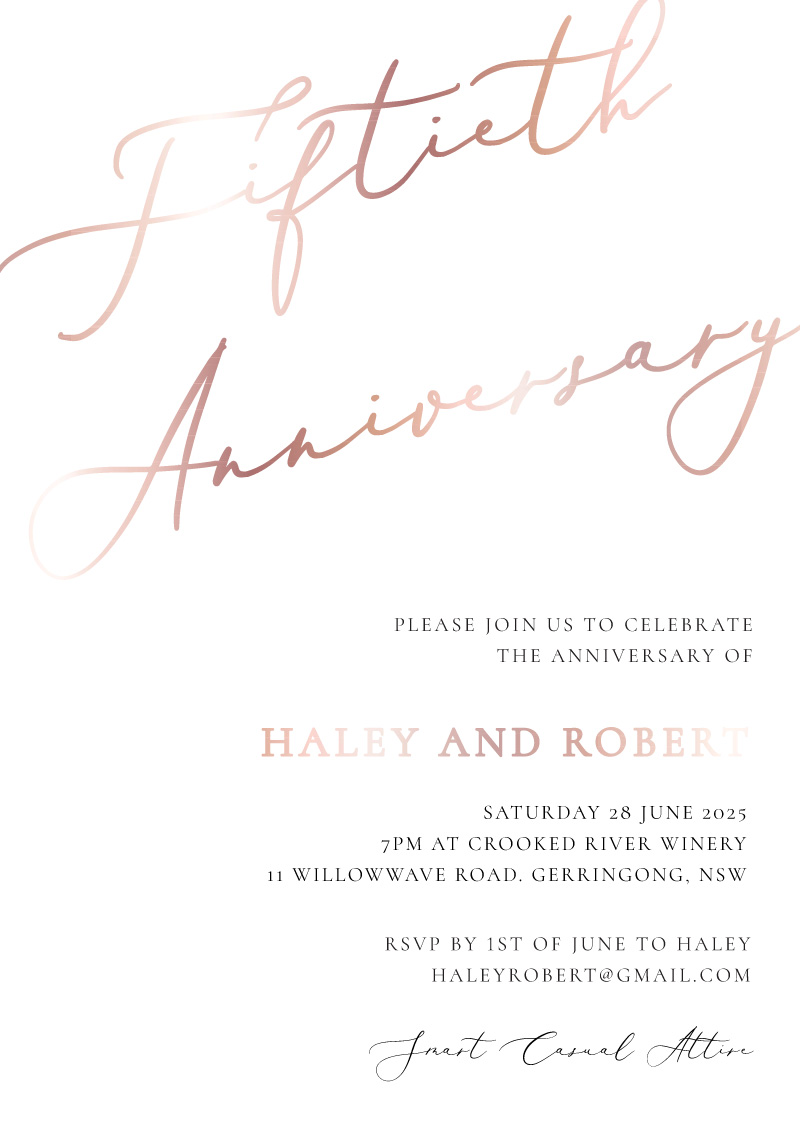 Rose Et Gris - Wedding Anniversary Invitations