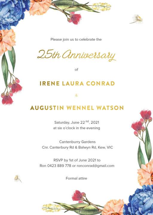 Garden Party - Wedding Anniversary Invitations