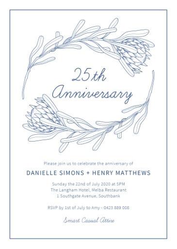 Playful Proteas - Wedding Anniversary Invitations
