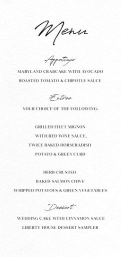 Adore - Wedding Menu
