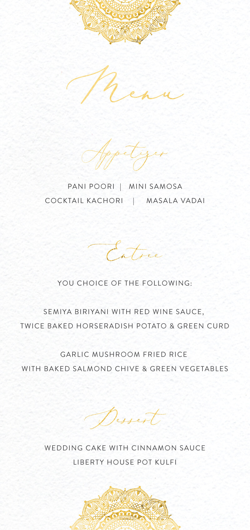 White Vivaha - Menu