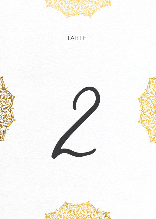 White Vivaha - table numbers