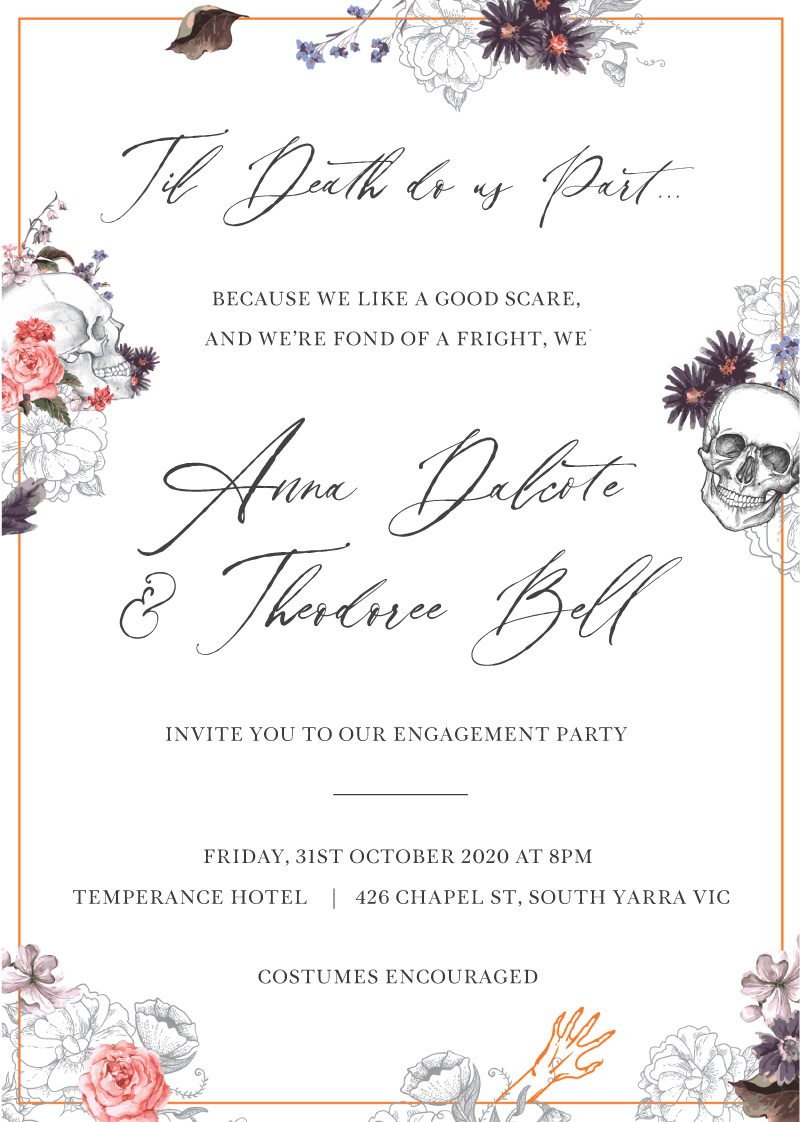 Spooky Betrothal - Engagement Invitations