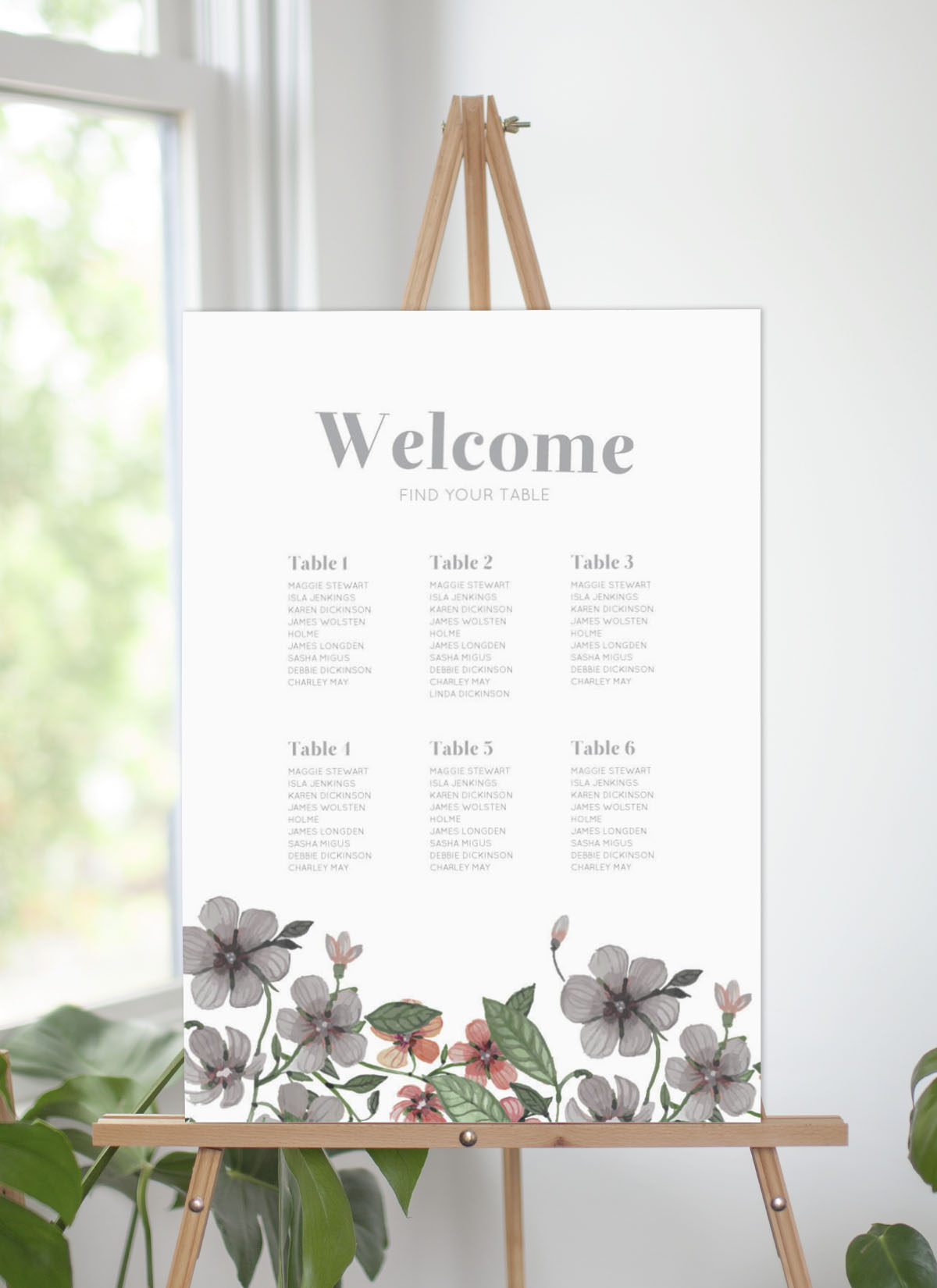 Floral Circle Invitation Set - Seating Charts