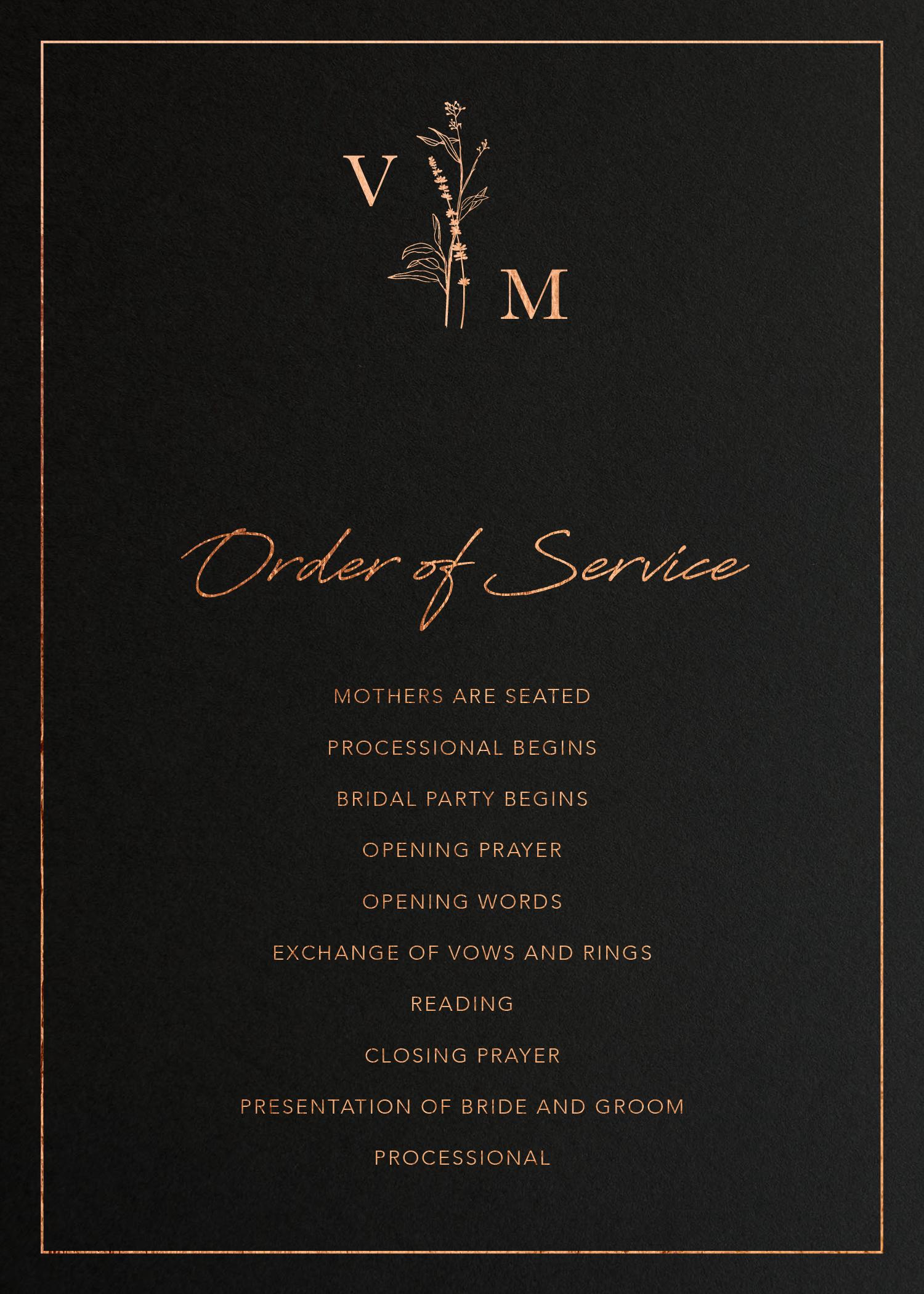 Dark Romance - Order Of Service