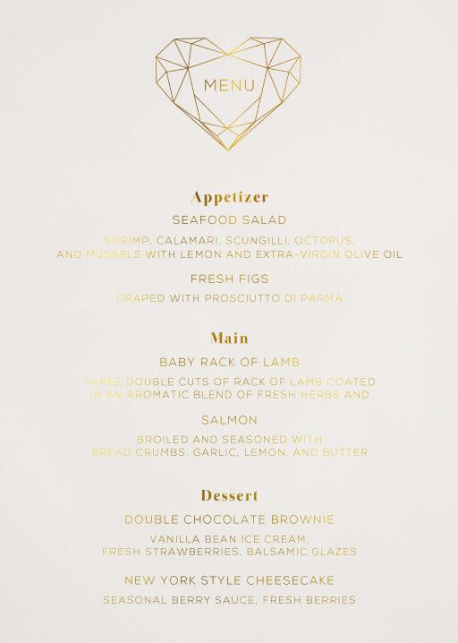 Diamond Love - Wedding Menu