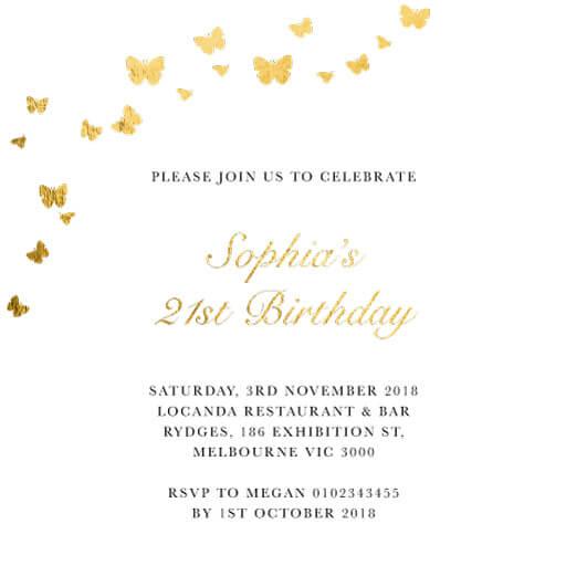 Butterfly Blossom - birthday invitations