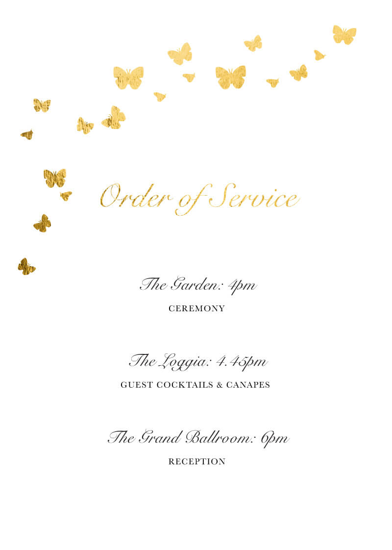 Butterfly Blossom - Order Of Service