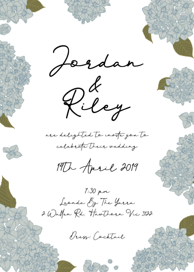 Hydrangea Macrophylla - Wedding Invitations