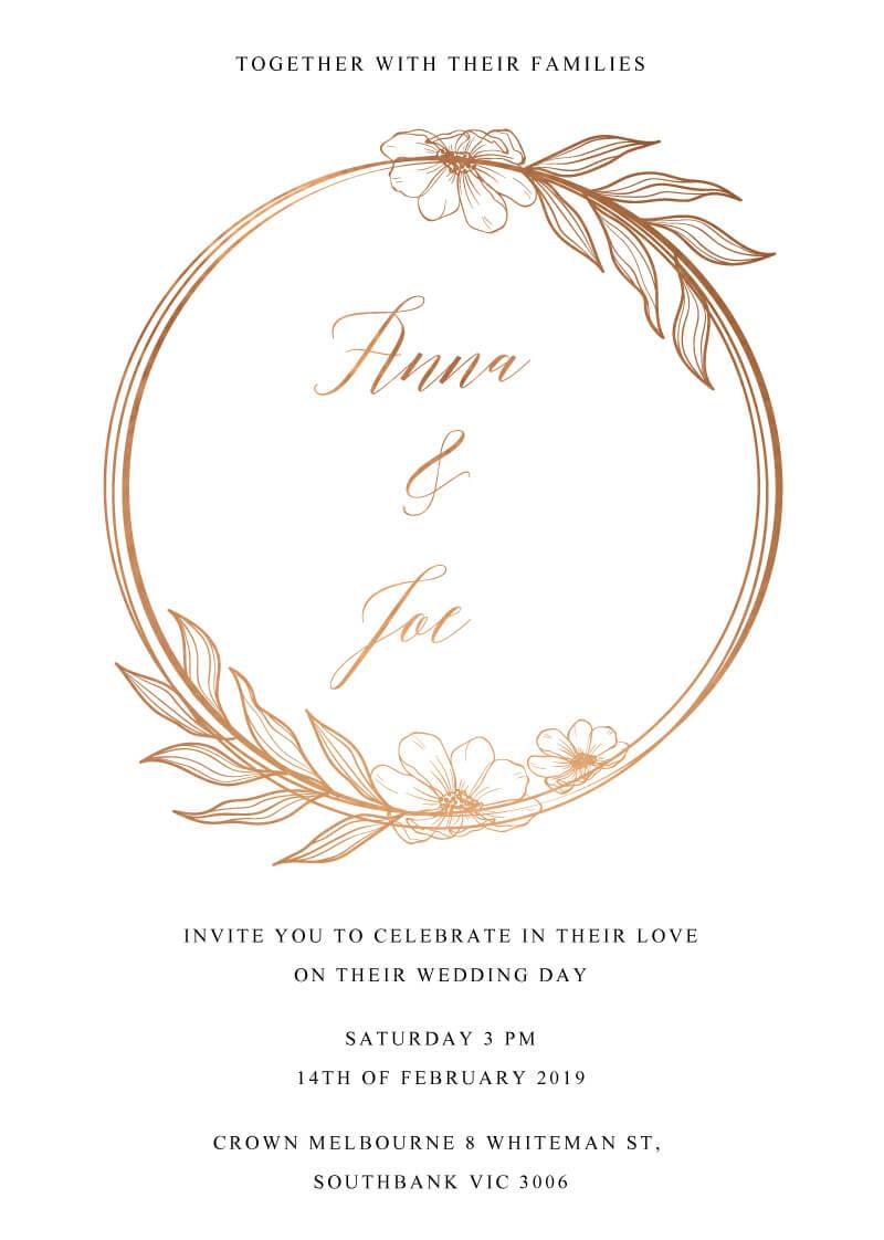 Copper Leaves - Wedding Invitations