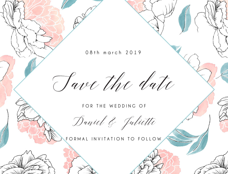 Watercolour Peony - Save The Date