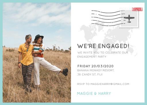 Blue Paradise - engagement invitations
