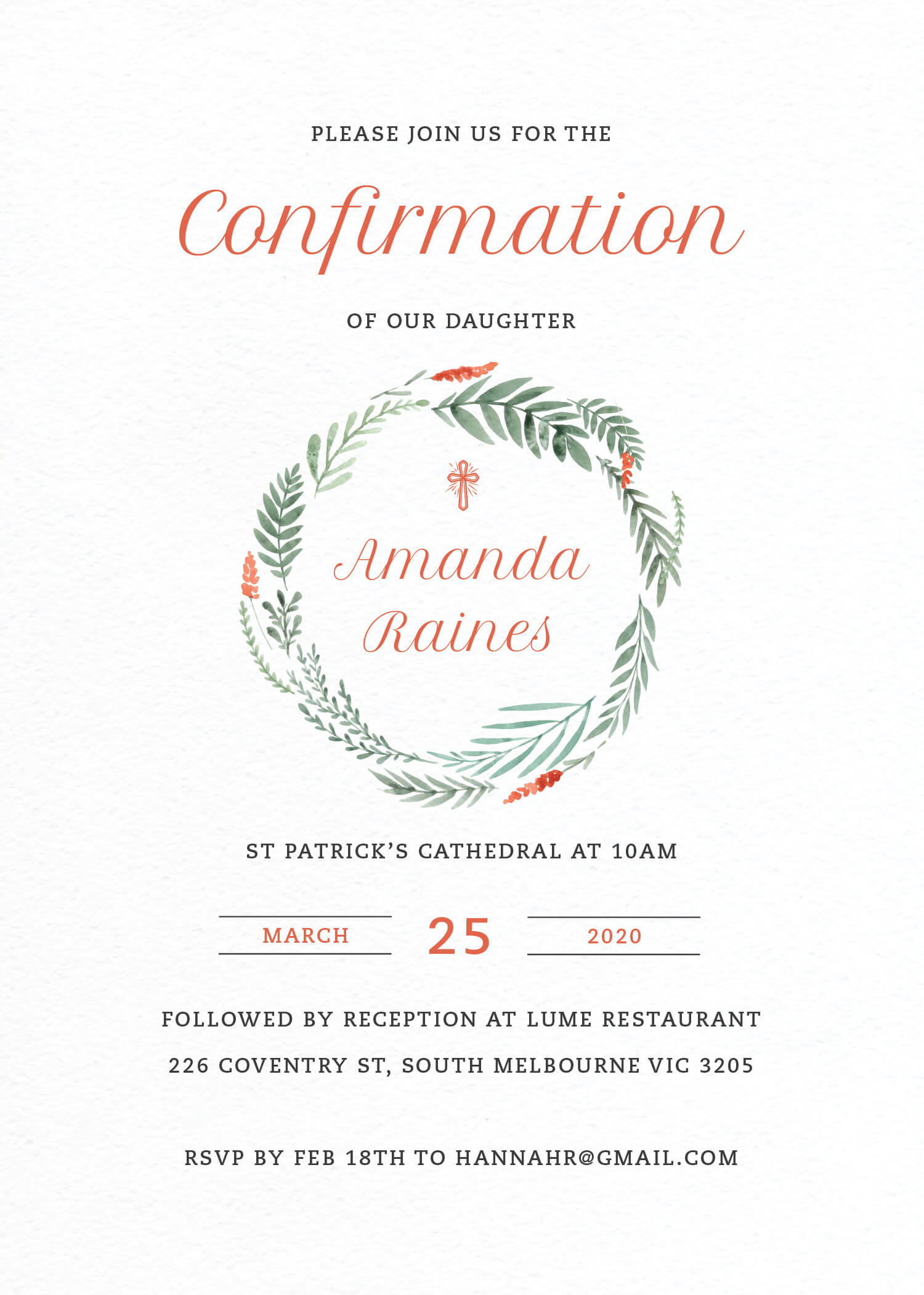 Confirming Wreath - Confirmation Invitations