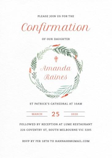 Confirming Wreath - Confirmation Invitations