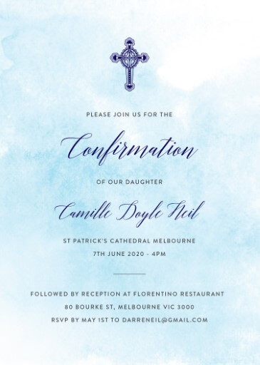 Shades of Blue - Confirmation Invitations