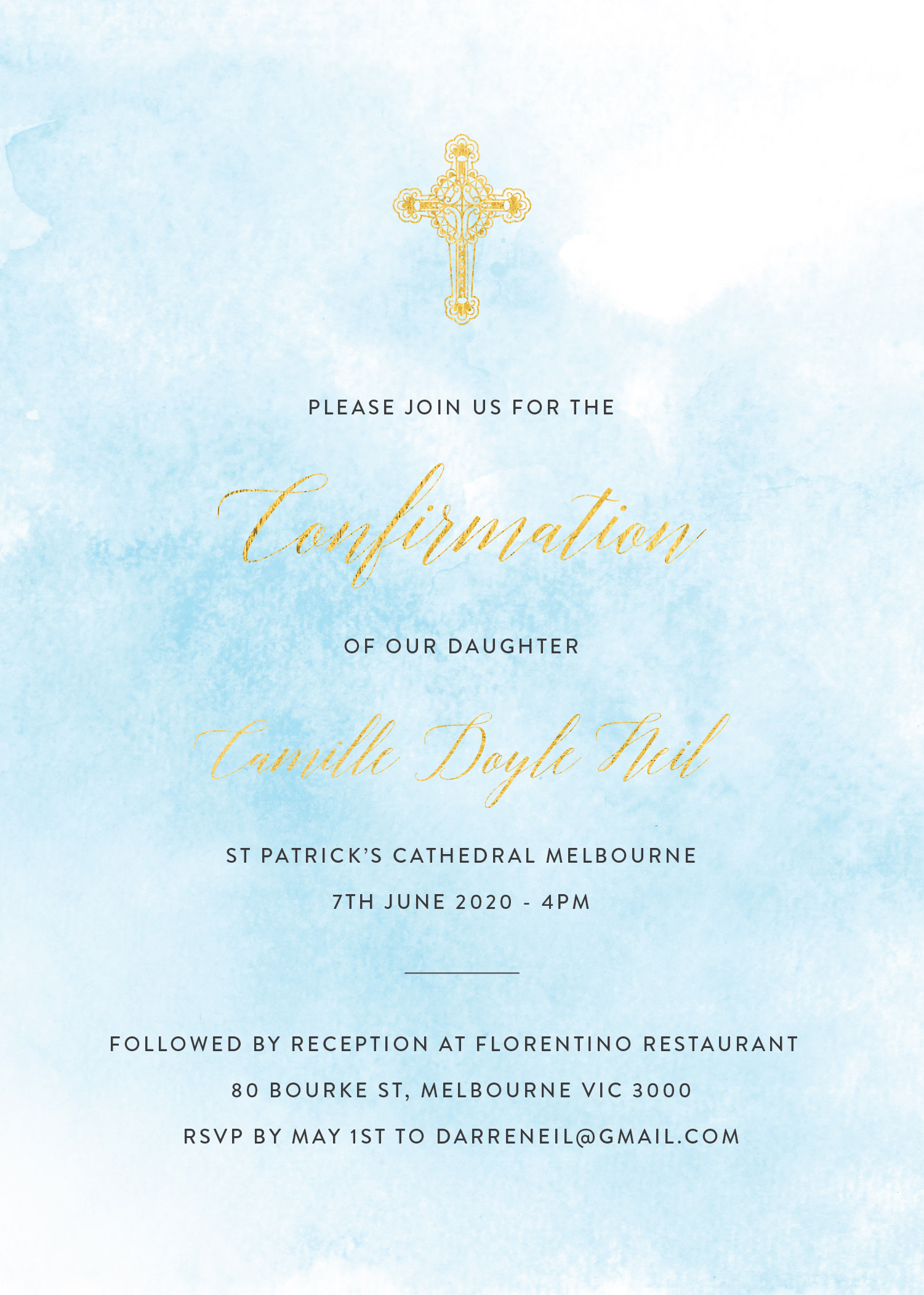 Shades of Blue - Confirmation Invitations