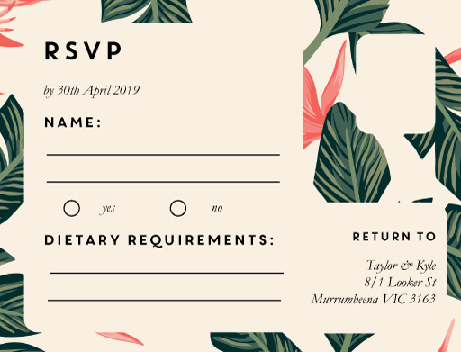 Birds of Paradise - RSVP Cards