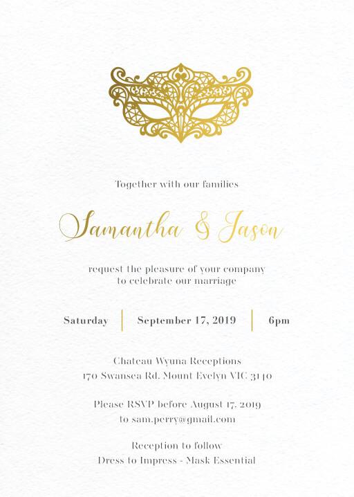 Masque Wedding Invitations - wedding invitations