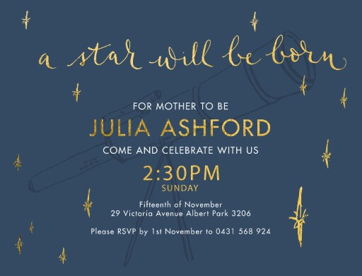 Telescope Boy - baby shower invitations