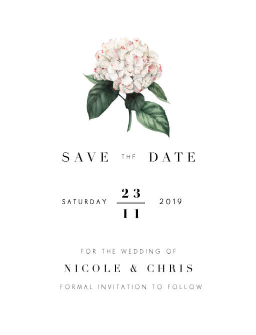 Hydrangea Save The Date - Save The Date