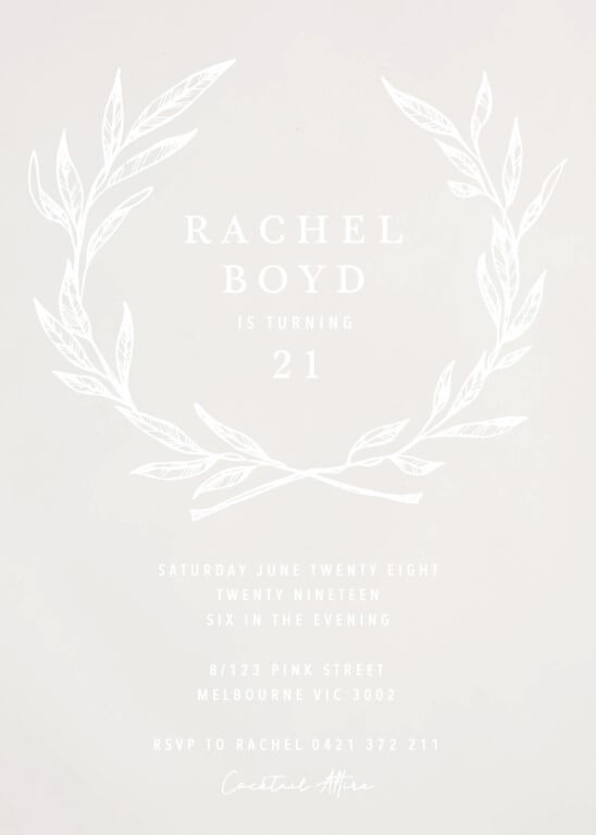 Olea - birthday invitations